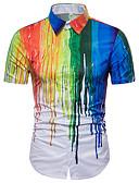 baratos Camisetas & Regatas Masculinas-Homens Camisa Social Básico Geométrica