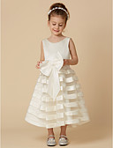 זול שמלות לילדות פרחים-גזרת A באורך הקרסול שמלה לנערת הפרחים - סאטן / טול ללא שרוולים עם תכשיטים עם פפיון(ים) על ידי LAN TING BRIDE®