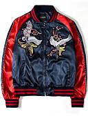 זול גברים-ג'קטים ומעילים-פרחוני  בוטני עומד סגנון רחוב ג'קט - בגדי ריקוד גברים, טלאים / רקום / שרוול ארוך