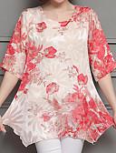 baratos Vestidos de Mulher-Mulheres Blusa Básico Estampado, Floral
