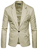 cheap Men's Blazers & Suits-Men's Street chic Blazer-Solid Colored Peaked Lapel / Long Sleeve