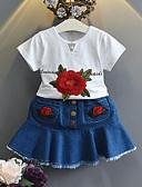 povoljno Kompletići za djevojčice-Dijete koje je tek prohodalo Djevojčice Dnevno Škola Cvjetni print Kratkih rukava Regularna Komplet odjeće Obala / Slatko