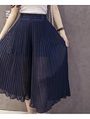 baratos Calças Femininas-Mulheres Perna larga Calças - Sólido Cinzento