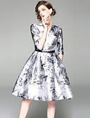 זול שמלות נשים-צווארון V עד הברך דפוס, מופשט - שמלה גזרת A וינטאג' / סגנון רחוב ליציאה בגדי ריקוד נשים