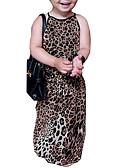 tanie Dziecięce Ozdoby do włosów-Sukienka Bawełna Dziewczyny Codzienny Wyjściowe Cętki Lato Bez rękawów Prosty Moda miejska Beige