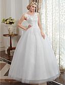 olcso Menyasszonyi ruhák-Báli ruha Scoop nyak Földig érő Tüll / Gyöngyös csipke Made-to-measure esküvői ruhák val vel Rátétek által LAN TING BRIDE®