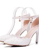 baratos Vestidos para as Mães dos Noivos-Mulheres Sapatos Couro Ecológico Primavera / Outono Conforto / Inovador Sapatos De Casamento Salto Agulha Dedo Apontado Pérolas / Flor de
