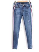 billige Tights til damer-Dame Grunnleggende Store størrelser Jeans Bukser - Trykt mønster, Stripet