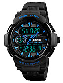 cheap Sport Watches-SKMEI Men's Sport Watch Japanese Alarm / Chronograph / Water Resistant / Water Proof PU Band Casual / Fashion Black / Dual Time Zones / Stopwatch