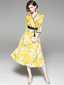 cheap Women's Dresses-Women's Floral Holiday / Going out Basic Slim Swing Dress - Floral Print V Neck Spring Yellow M L XL