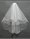 preiswerte Hochzeitskleider-Zweischichtig Blumen Stil / Netz / Wandelbare Kleider Hochzeitsschleier Kapellen Schleier mit Franse / Farbaufsatz POLY / Tüll / Oval