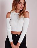 preiswerte T-Shirt-Damen Solide - Street Schick Ausgehen Baumwolle T-shirt, Schulterfrei Skinny