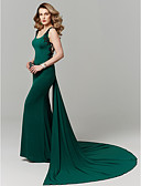 cheap Prom Dresses-Mermaid / Trumpet Scoop Neck Chapel Train Jersey Beautiful Back Cocktail Party / Prom / Formal Evening Dress with Appliques by TS Couture®