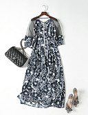 זול שמלות נשים-מקסי דפוס, פרחוני - שמלה משוחרר משוחרר משי שרוול נפוח מתוחכם ליציאה בגדי ריקוד נשים