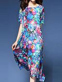 זול שמלות נשים-מידי דפוס, פרחוני - שמלה ישרה סווינג מתוחכם סגנון סיני בגדי ריקוד נשים