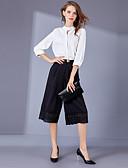 abordables Trajes de Dos Piezas de Mujer-Mujer Trabajo Chic de Calle Camisa Ajuste de encaje Pantalón