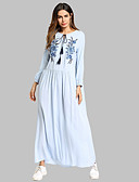 cheap Women's Dresses-Women's Cotton Tunic Dress - Solid Colored Embroidered Maxi