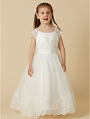 cheap Flower Girl Dresses-A-Line Floor Length Flower Girl Dress - Lace / Tulle Short Sleeve Scoop Neck with Buttons / Sash / Ribbon by LAN TING BRIDE®