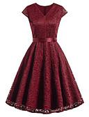 رخيصةأون فساتين فينتيدج قديمة-فستان نسائي عصري / ثوب ضيق عتيق / أساسي دانتيل / مقصوص طول الركبة نحيل لون سادة V رقبة