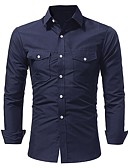 tanie Męskie koszule-Koszula Męskie Szczupła - Solidne kolory / Długi rękaw