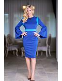 tanie Sukienki-Damskie Wyrafinowany styl Szczupła Spodnie - Kolorowy blok Wysoka talia Niebieski / Impreza / Rękaw motylek / Plaża