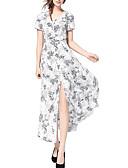 hesapli Maksi Elbiseler-Kadın's Pamuklu A Şekilli Elbise - Çiçekli V Yaka Maksi Yüksek Bel