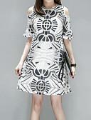 tanie Sukienki w rozmiarach plus-Damskie Boho Puszysta Luźna Spodnie - Kratka Siateczka Biały / Wyjściowe / Seksowny