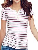 cheap Fashion Hats-Women's Holiday Basic Cotton T-shirt - Striped Print V Neck / Summer / Fine Stripe