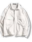 olcso Férfi pólók-Utcai sikk Férfi Dzsekik - Egyszínű