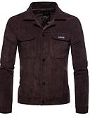 ieftine Tricou Bărbați-Bărbați Zilnic Activ Primăvară Mărime Plus Size Regular Jachetă, Mată Răsfrânt Manșon Lung Bumbac / Poliester Maro / Negru XXL / XXXL / 4XL
