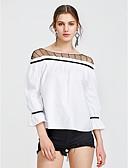 abordables Camisas y Camisetas para Mujer-Mujer Algodón Camiseta, Escote Barco Un Color