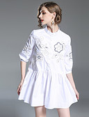 cheap Women's Dresses-Women's Street chic Cotton Loose Skater Dress - Floral Embroidered Mini Stand