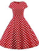 baratos Vestidos Baile Formatura-Mulheres Tamanhos Grandes Vintage Delgado Bainha Vestido Poá Médio