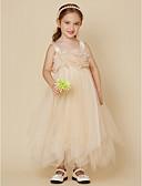 cheap Flower Girl Dresses-A-Line Tea Length Flower Girl Dress - Tulle Sleeveless Spaghetti Strap with Beading / Sash / Ribbon / Flower by LAN TING BRIDE®