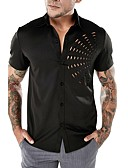 cheap Men's Shirts-Men's Basic / Punk & Gothic Shirt - Solid Colored Cut Out White L / Short Sleeve / Summer