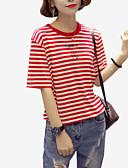 ieftine Bluze & Camisole Femei-Pentru femei Stil Nautic Tricou Concediu Bumbac De Bază - Dungi Imprimeu / Vară / Larg