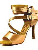 cheap Latin Dancewear-Women's Latin Shoes / Salsa Shoes Satin Sandal / Heel Buckle / Ribbon Tie Customized Heel Customizable Dance Shoes Bronze / Almond / Nude / Performance / Leather / Professional
