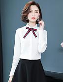 baratos Biquínis e Roupas de Banho Femininas-Mulheres Camisa Social - Diário / Trabalho Sólido Algodão Colarinho de Camisa