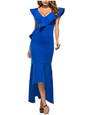 cheap Women's Dresses-Women's Party Cotton Slim Bodycon Dress - Solid Colored Asymmetrical V Neck