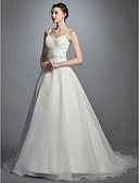 cheap Wedding Dresses-Princess Sweetheart Neckline Court Train Organza Made-To-Measure Wedding Dresses with Beading / Sash / Ribbon / Ruched by LAN TING BRIDE® / Open Back