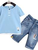 povoljno Kompletići za dječake-Djeca Dječaci Osnovni Jednobojni Kratkih rukava Komplet odjeće