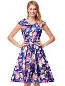 povoljno Ženske haljine-Žene Skater kroj Haljina Cvjetni print Iznad koljena