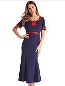 זול עליוניות לנשים-מידי קולור בלוק - שמלה נדן בגדי ריקוד נשים