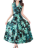 cheap Print Dresses-Women's Floral Daily / Going out Boho / Sophisticated Slim Sheath Dress - Floral Print V Neck Summer Green XXL XXXL 4XL