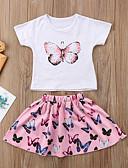 billige Tøjsæt til piger-Baby Pige Aktiv Basale Daglig Skole Sommerfugl Ensfarvet Trykt mønster Flettet Trykt mønster Kortærmet Bomuld Rayon Polyester Tøjsæt Lyserød