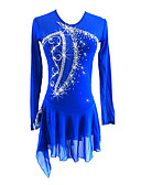 cheap Ice Skating Dresses , Pants & Jackets-Figure Skating Dress Girls' Ice Skating Dress Royal Blue Asymmetric Hem Spandex Stretchy Professional / Competition Skating Wear Sequin Long Sleeve Figure Skating