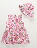 Χαμηλού Κόστους Βρεφικά φορέματα-Μωρό Κοριτσίστικα Ενεργό Φλοράλ Αμάνικο Βαμβάκι Φόρεμα Ανθισμένο Ροζ / Νήπιο