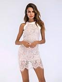 tanie Print Dresses-Damskie Vintage Bawełna Szczupła Spodnie - Solidne kolory Koronka Biały / Półgolf