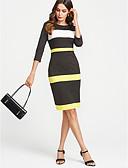 preiswerte Damen Kleider-Damen Übergrössen Arbeit Street Schick Baumwolle Schlank Hülle Kleid Gestreift Knielang