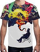 ieftine Maieu & Tricouri Bărbați-Bărbați Rotund Tricou Activ / Șic Stradă - Bloc Culoare Imprimeu / Manșon scurt